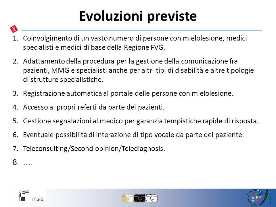 Evoluzioni previste Coinvolgimento di un vasto numero di persone con mielolesione, medici specialisti e medici di base della Regione FVG.