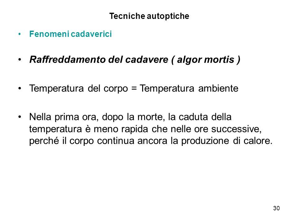 Raffreddamento del cadavere ( algor mortis )