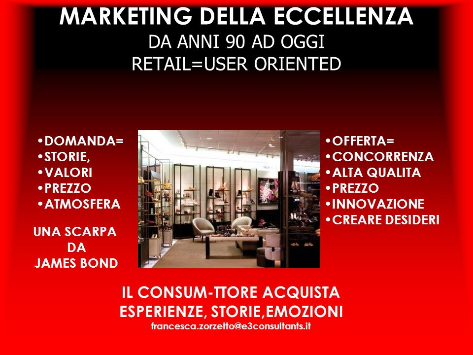 MARKETING DELLA ECCELLENZA DA ANNI 90 AD OGGI RETAIL=USER ORIENTED