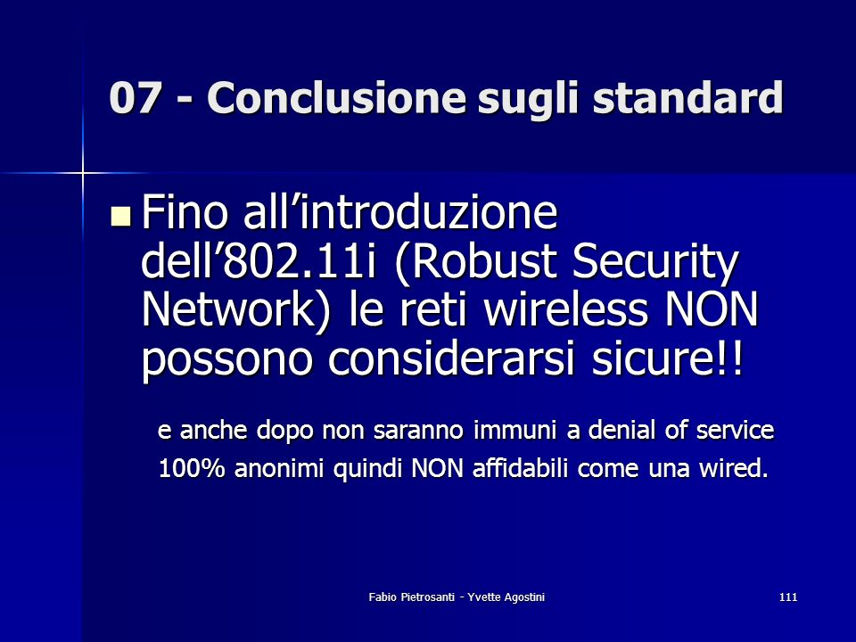 07 - Conclusione sugli standard