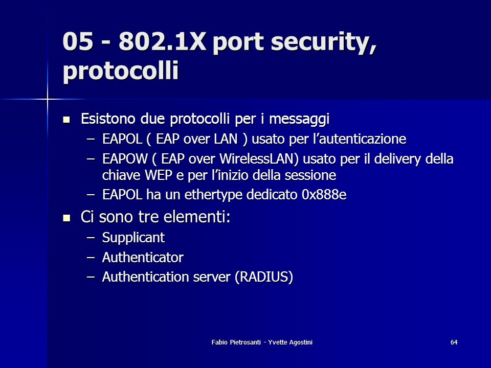 05 - 802.1X port security, protocolli