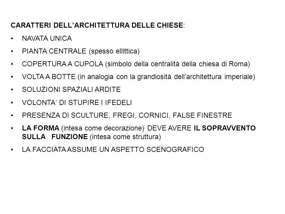 CARATTERI DELL'ARCHITETTURA DELLE CHIESE: