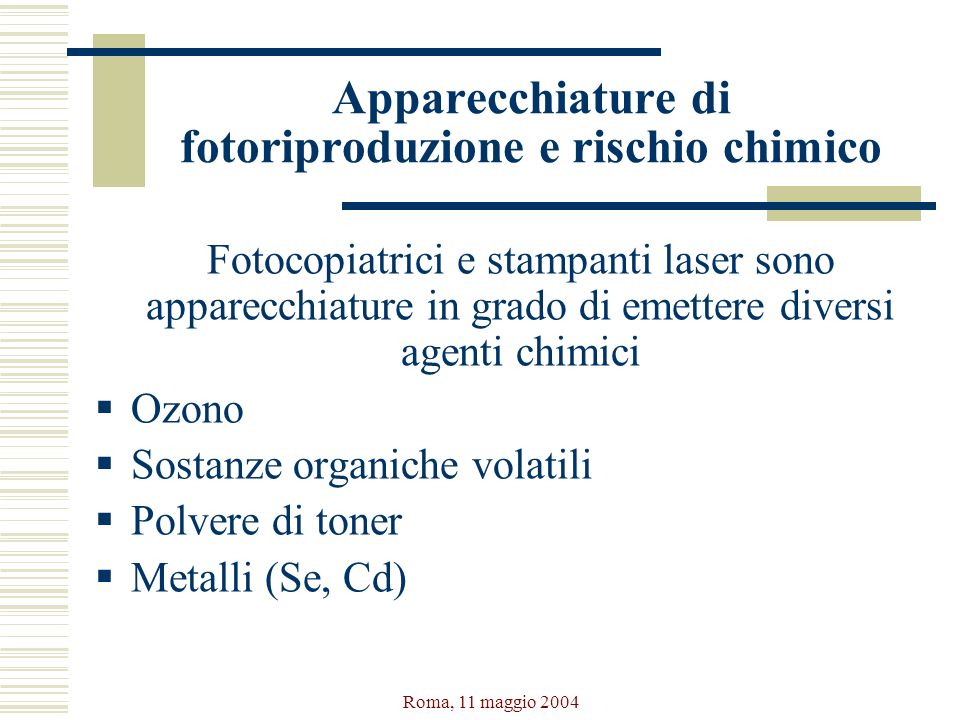 Apparecchiature di fotoriproduzione e rischio chimico