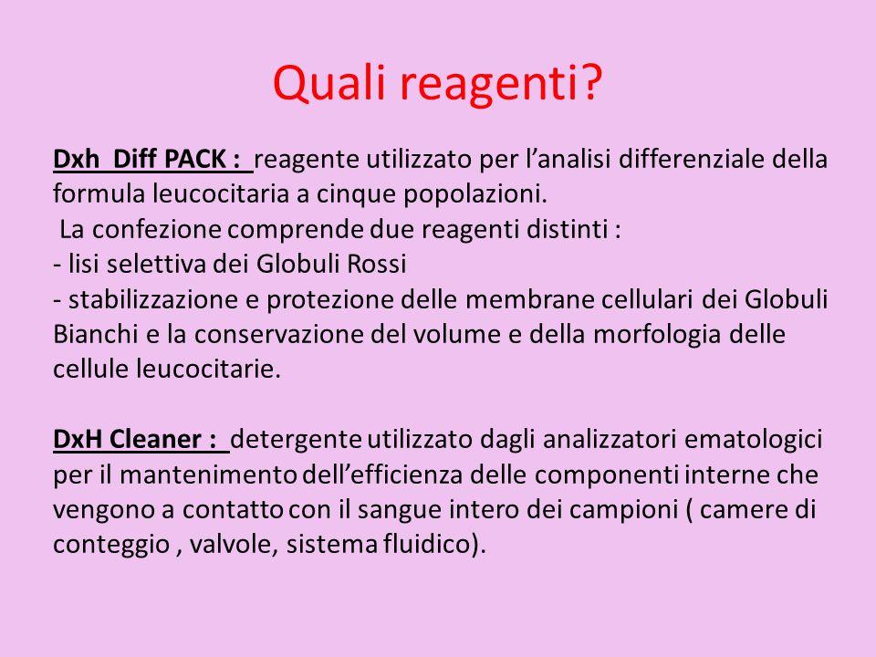 Quali reagenti Dxh Diff PACK : reagente utilizzato per l'analisi differenziale della formula leucocitaria a cinque popolazioni.