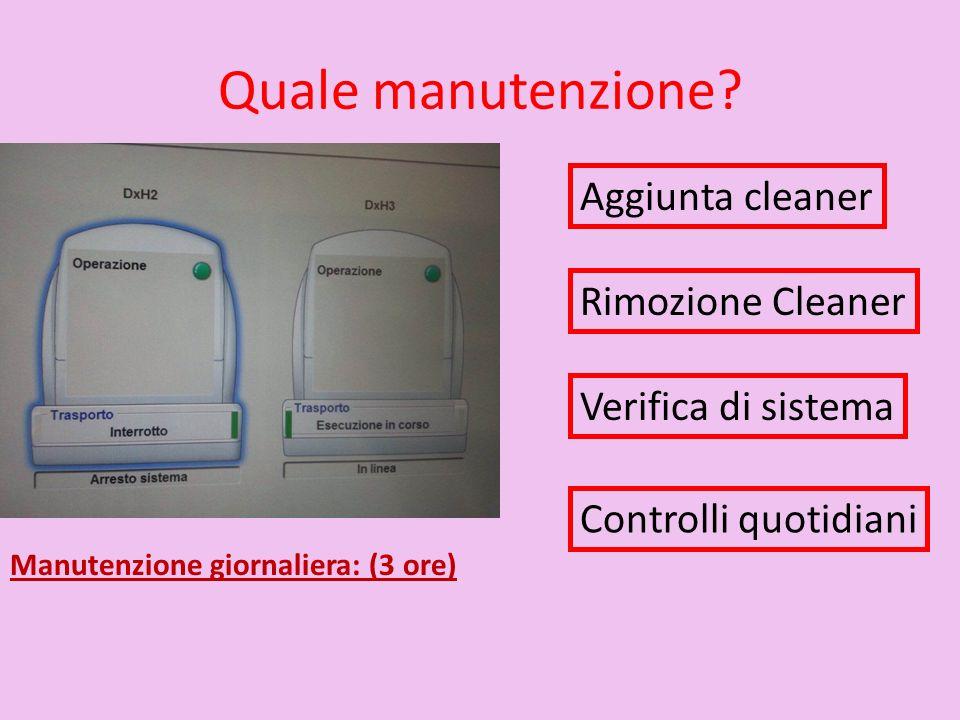 Quale manutenzione Aggiunta cleaner Rimozione Cleaner