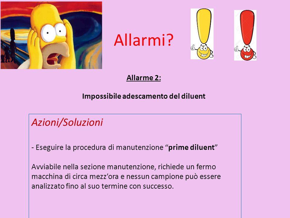 Allarme 2: Impossibile adescamento del diluent