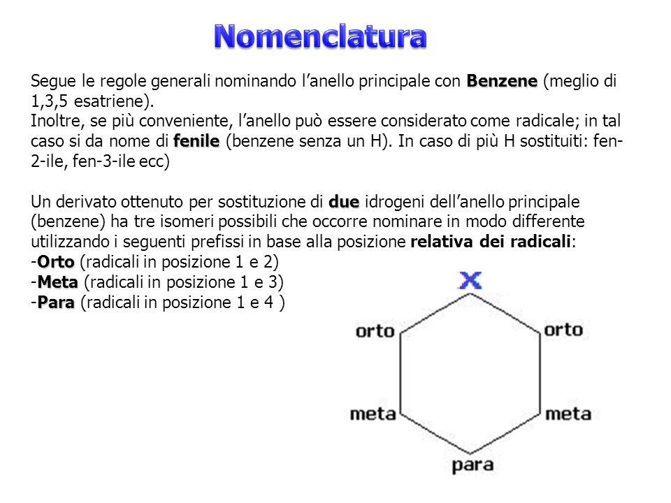 Nomenclatura Segue le regole generali nominando l'anello principale con Benzene (meglio di 1,3,5 esatriene).