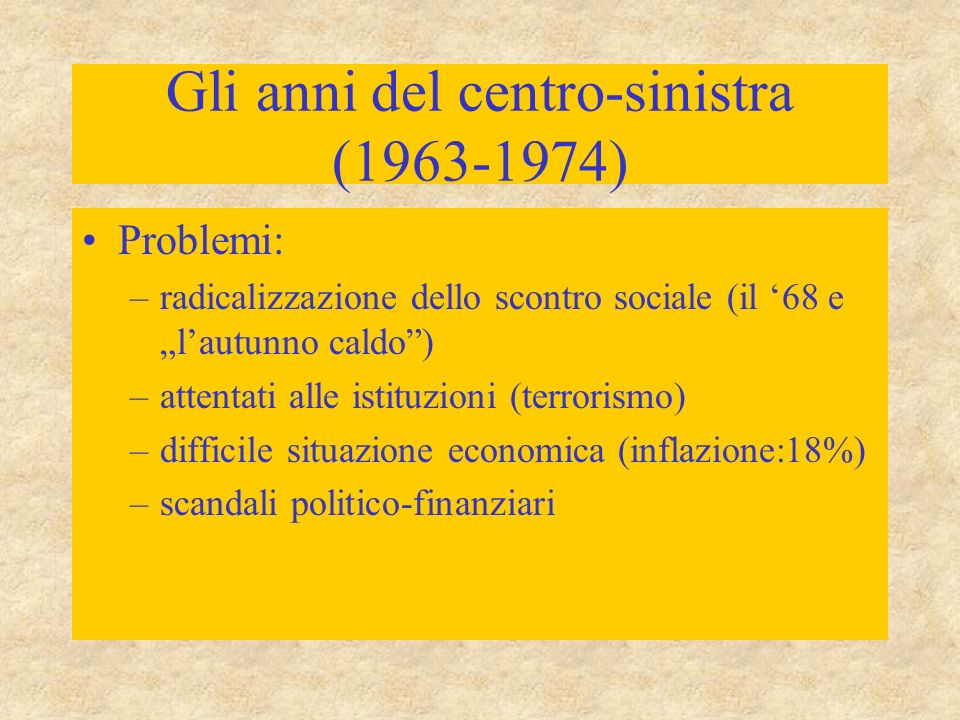 Gli anni del centro-sinistra (1963-1974)