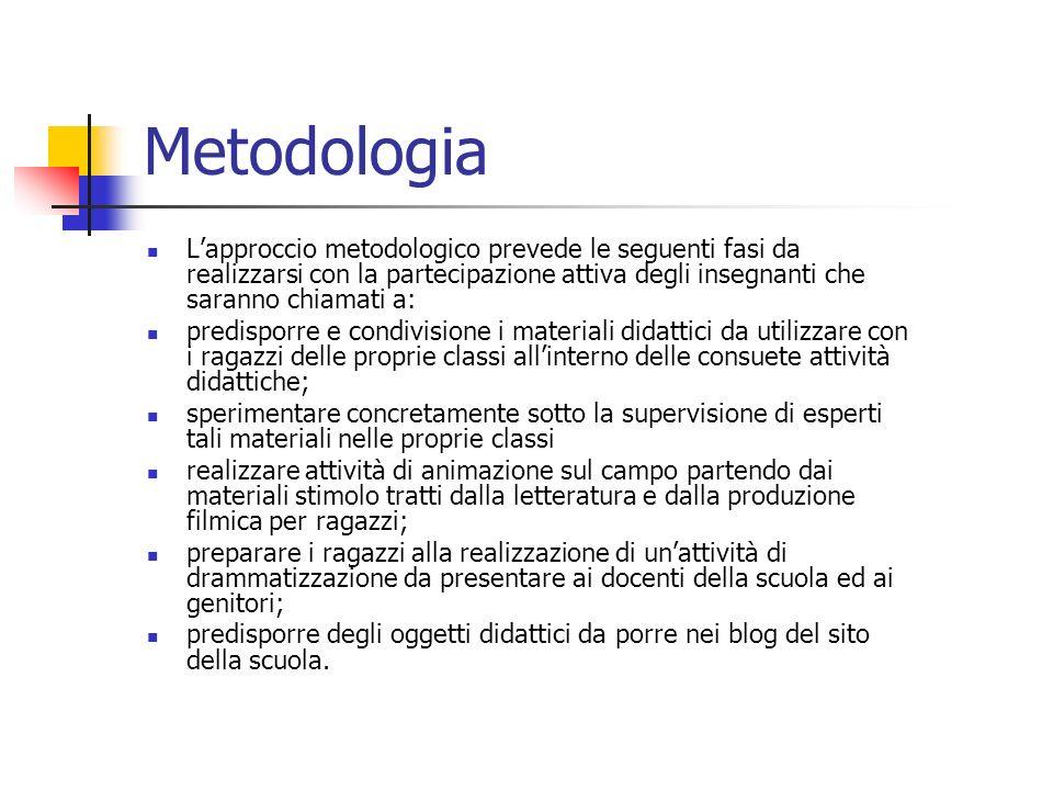 Metodologia L'approccio metodologico prevede le seguenti fasi da realizzarsi con la partecipazione attiva degli insegnanti che saranno chiamati a: