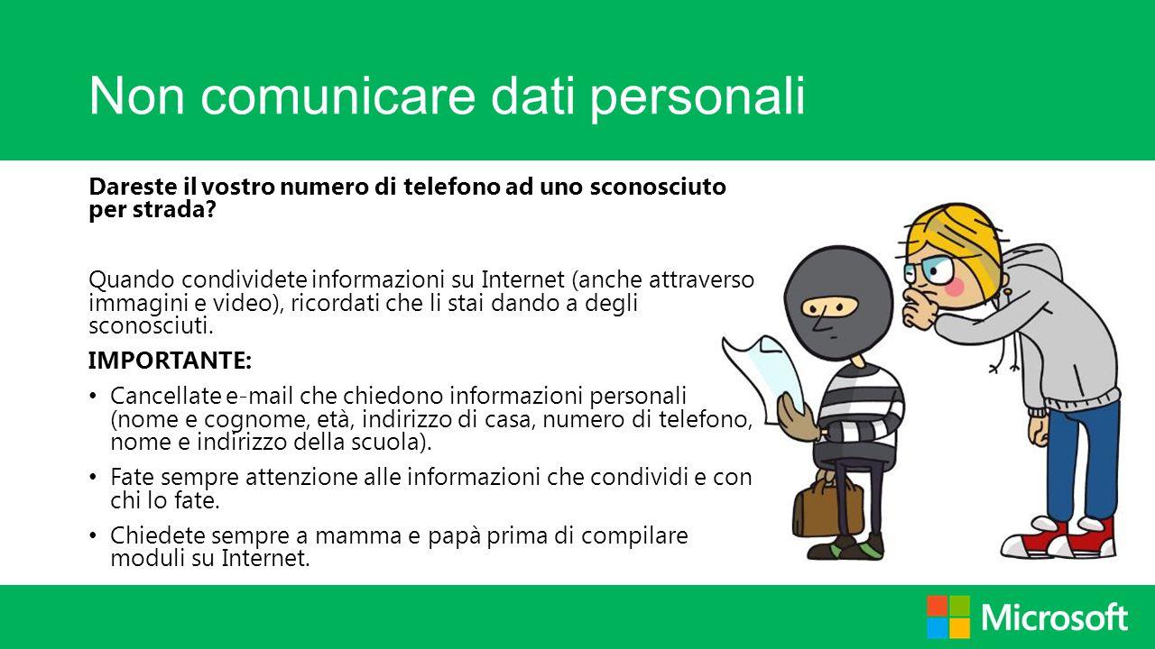 Non comunicare dati personali
