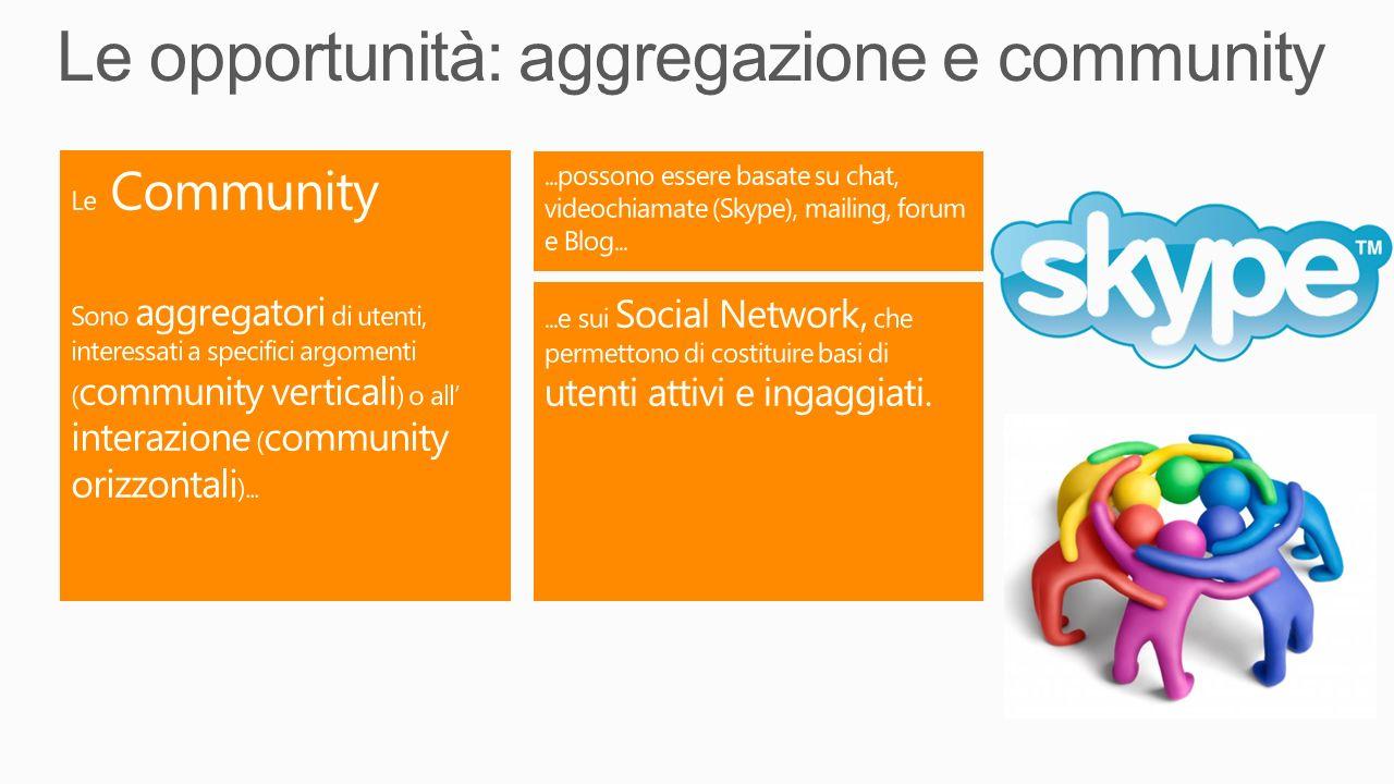Le opportunità: aggregazione e community