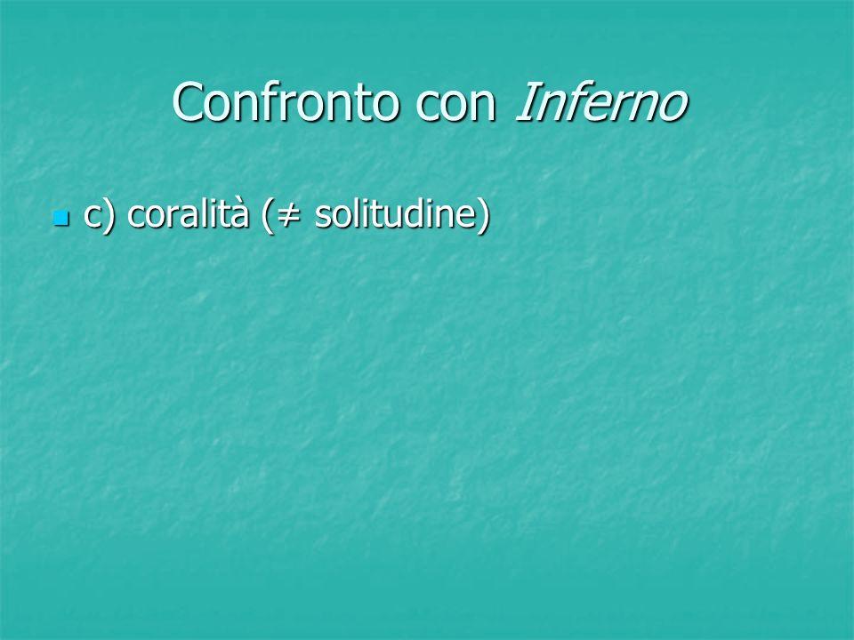 Confronto con Inferno c) coralità (≠ solitudine)