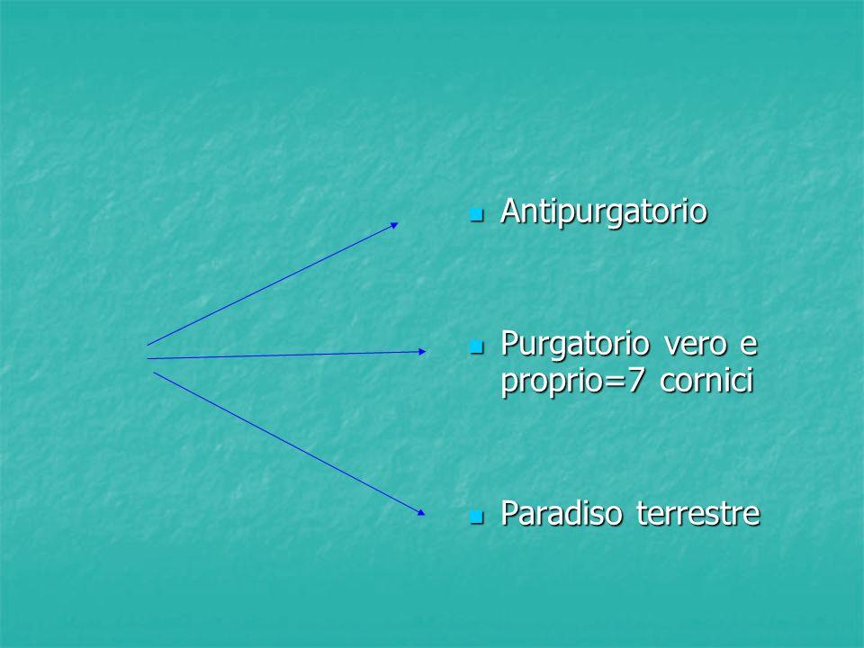 Antipurgatorio Purgatorio vero e proprio=7 cornici Paradiso terrestre