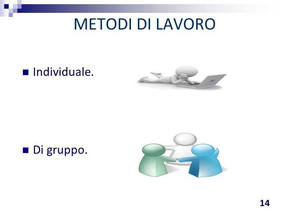 METODI DI LAVORO Individuale. Di gruppo.