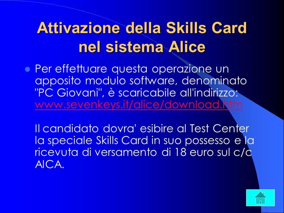 Attivazione della Skills Card nel sistema Alice