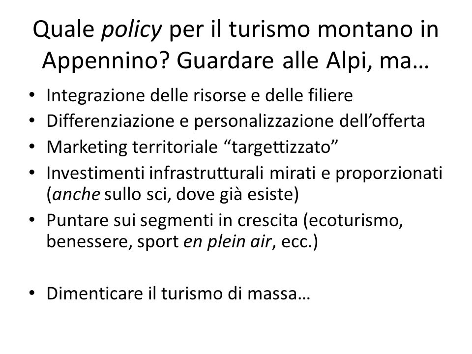 Quale policy per il turismo montano in Appennino