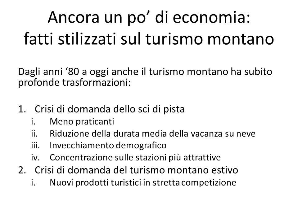 Ancora un po' di economia: fatti stilizzati sul turismo montano