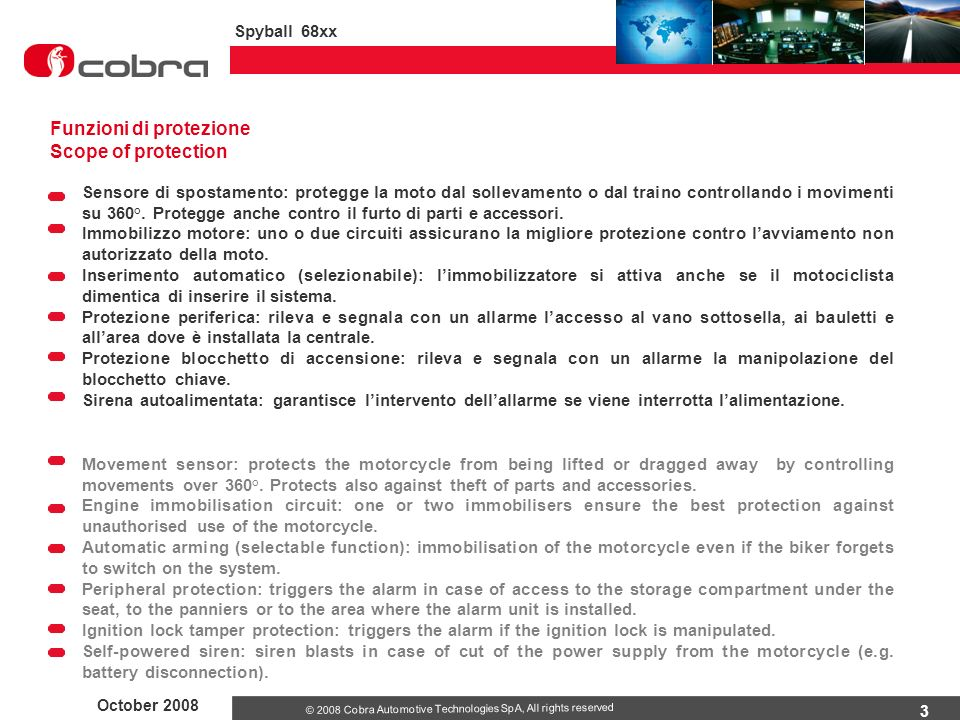 Funzioni di protezione Scope of protection
