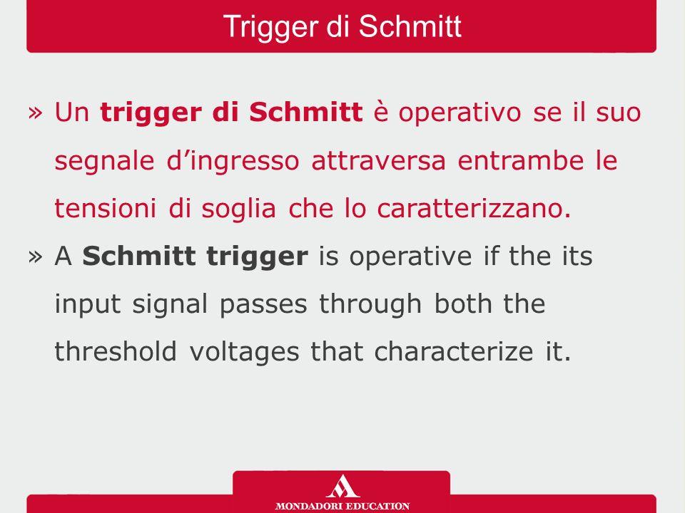 Trigger di Schmitt Un trigger di Schmitt è operativo se il suo segnale d'ingresso attraversa entrambe le tensioni di soglia che lo caratterizzano.