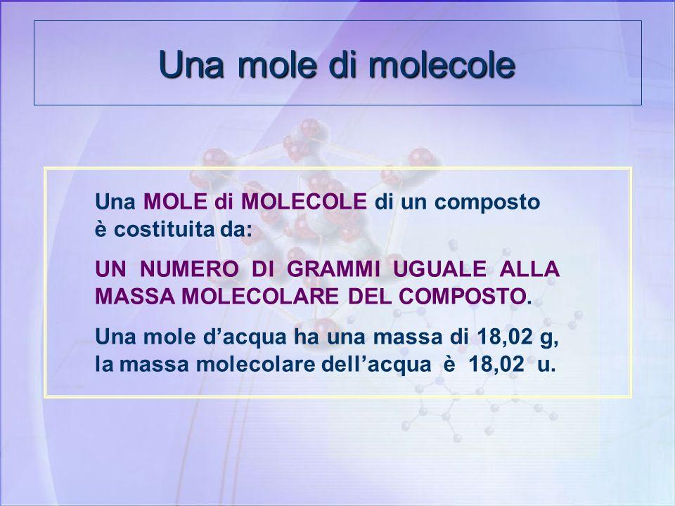 Una mole di molecole Una MOLE di MOLECOLE di un composto è costituita da: UN NUMERO DI GRAMMI UGUALE ALLA MASSA MOLECOLARE DEL COMPOSTO.