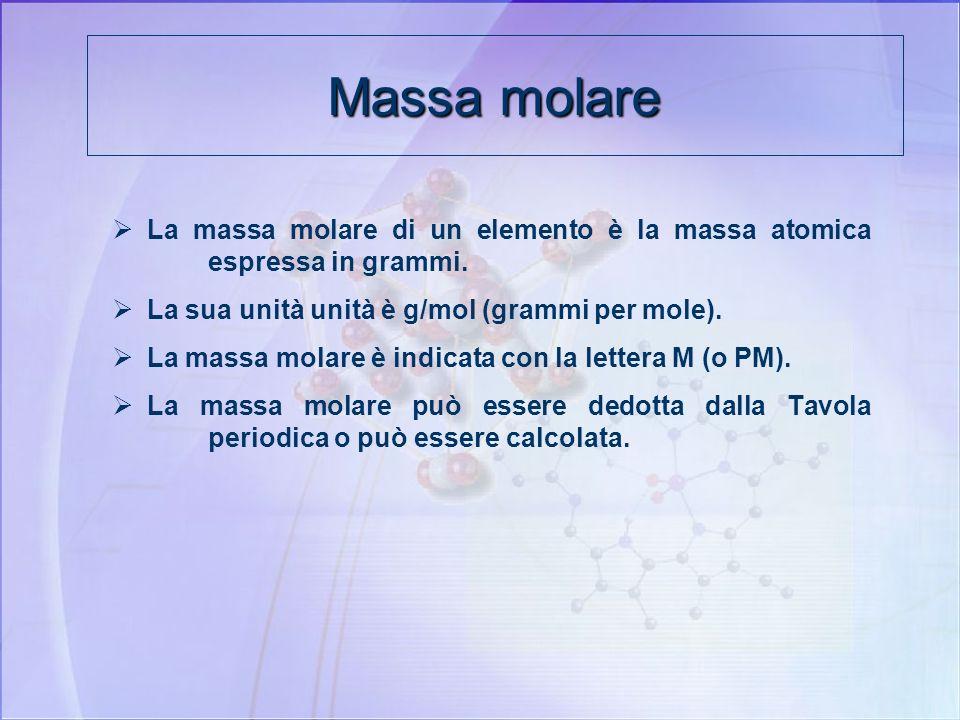 Massa molareLa massa molare di un elemento è la massa atomica espressa in grammi. La sua unità unità è g/mol (grammi per mole).