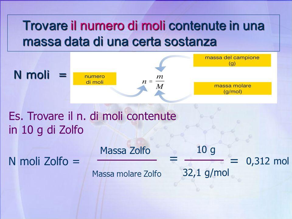 Trovare il numero di moli contenute in una massa data di una certa sostanza