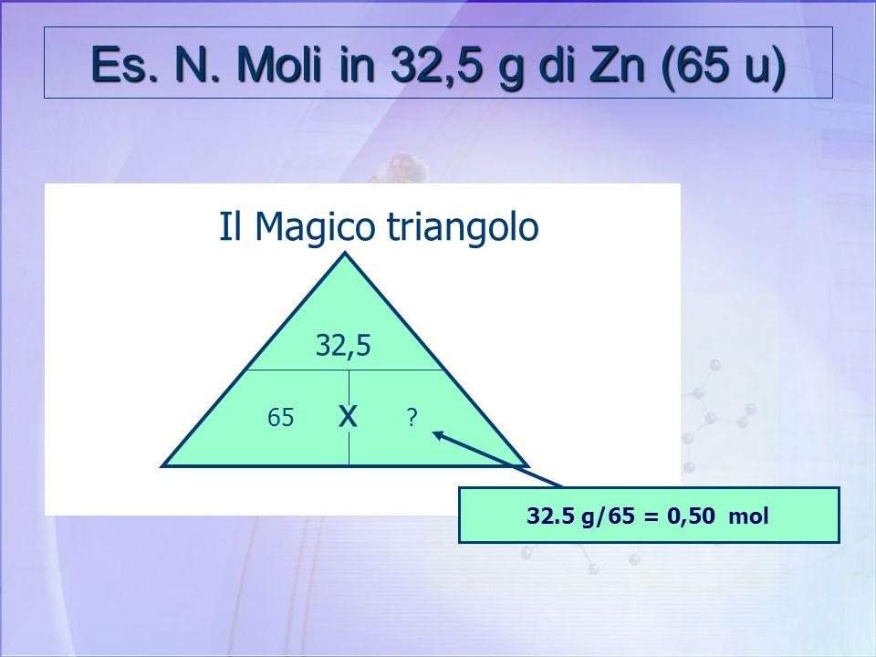 Es. N. Moli in 32,5 g di Zn (65 u) Il Magico triangolo x 32,5 65