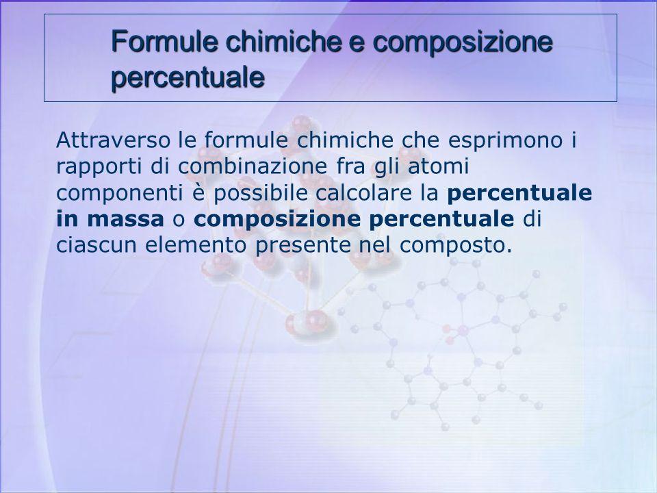 Formule chimiche e composizione percentuale