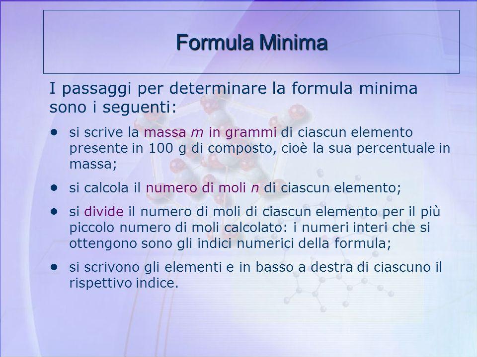 Formula Minima I passaggi per determinare la formula minima sono i seguenti: