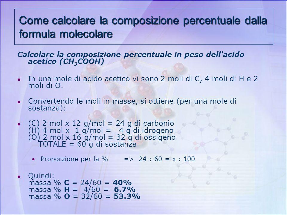Come calcolare la composizione percentuale dalla formula molecolare