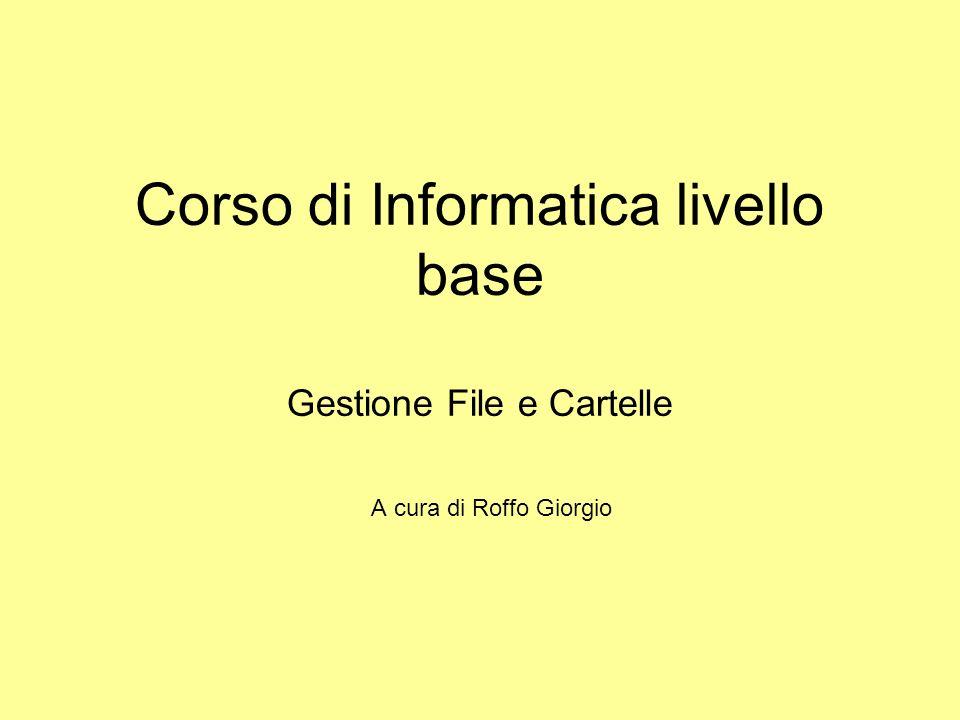 Corso di Informatica livello base Gestione File e Cartelle
