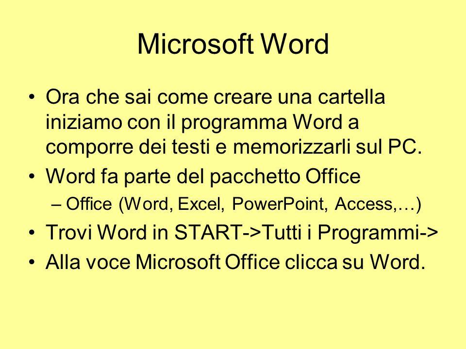 Microsoft Word Ora che sai come creare una cartella iniziamo con il programma Word a comporre dei testi e memorizzarli sul PC.