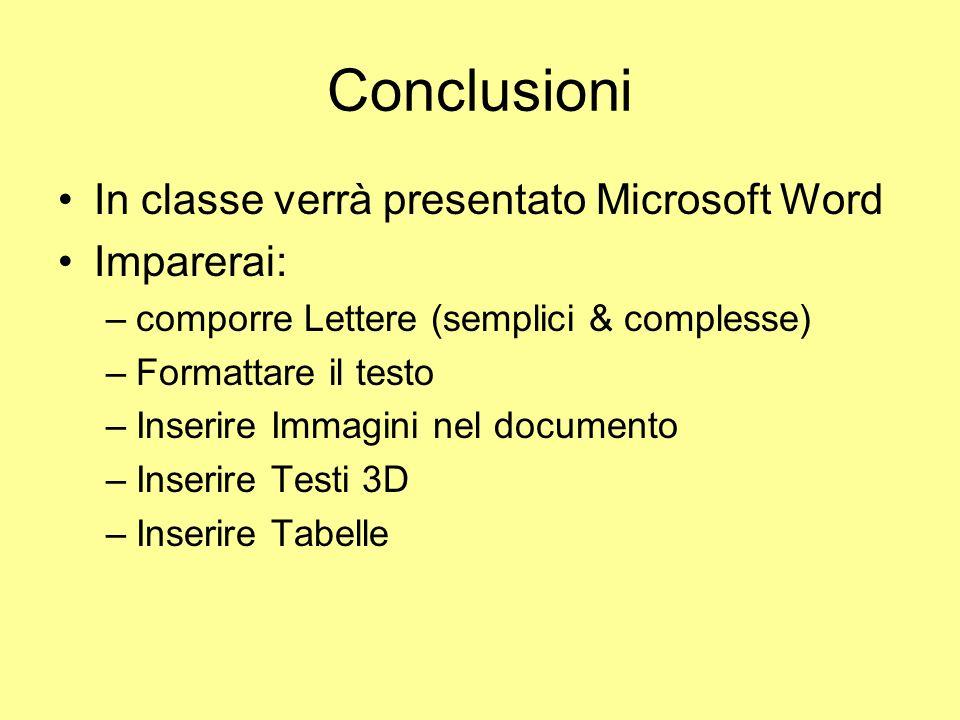 Conclusioni In classe verrà presentato Microsoft Word Imparerai: