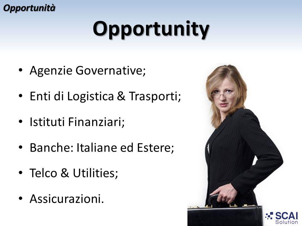 Opportunity Agenzie Governative; Enti di Logistica & Trasporti;