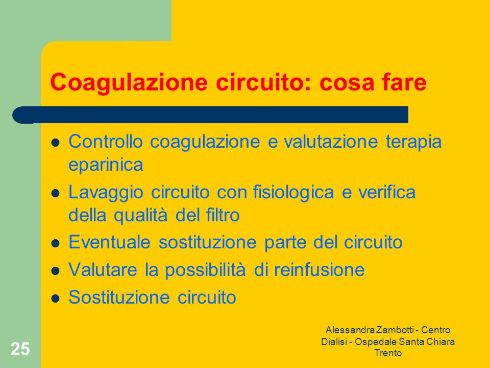 Coagulazione circuito: cosa fare