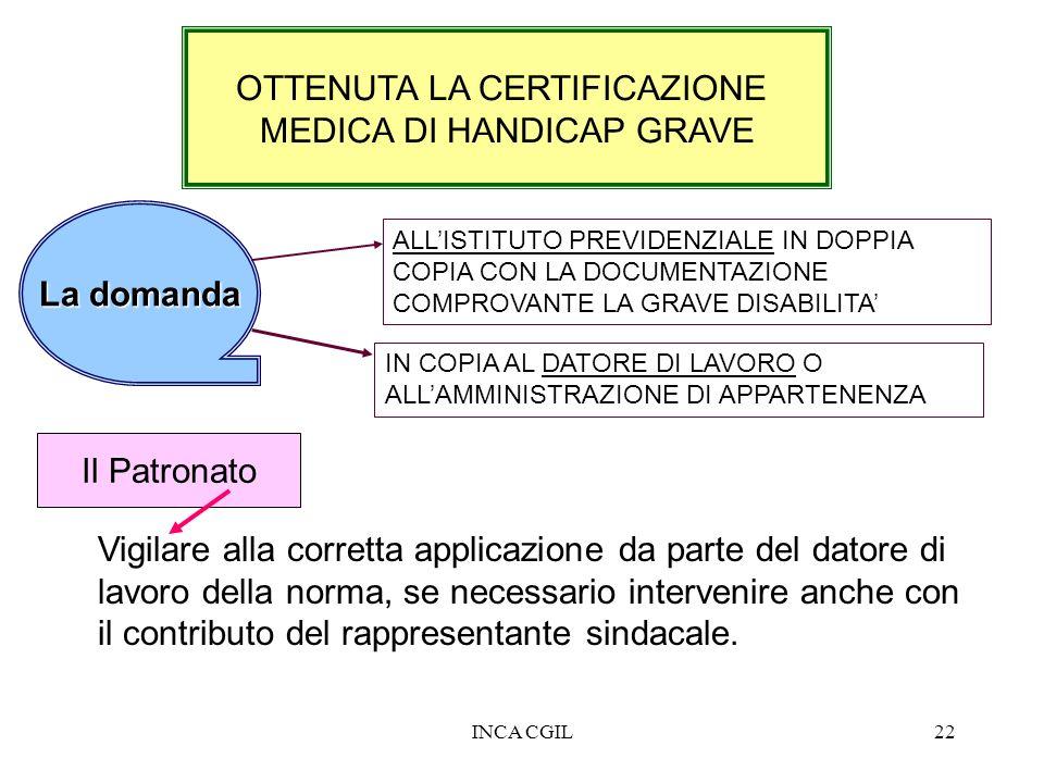 OTTENUTA LA CERTIFICAZIONE MEDICA DI HANDICAP GRAVE