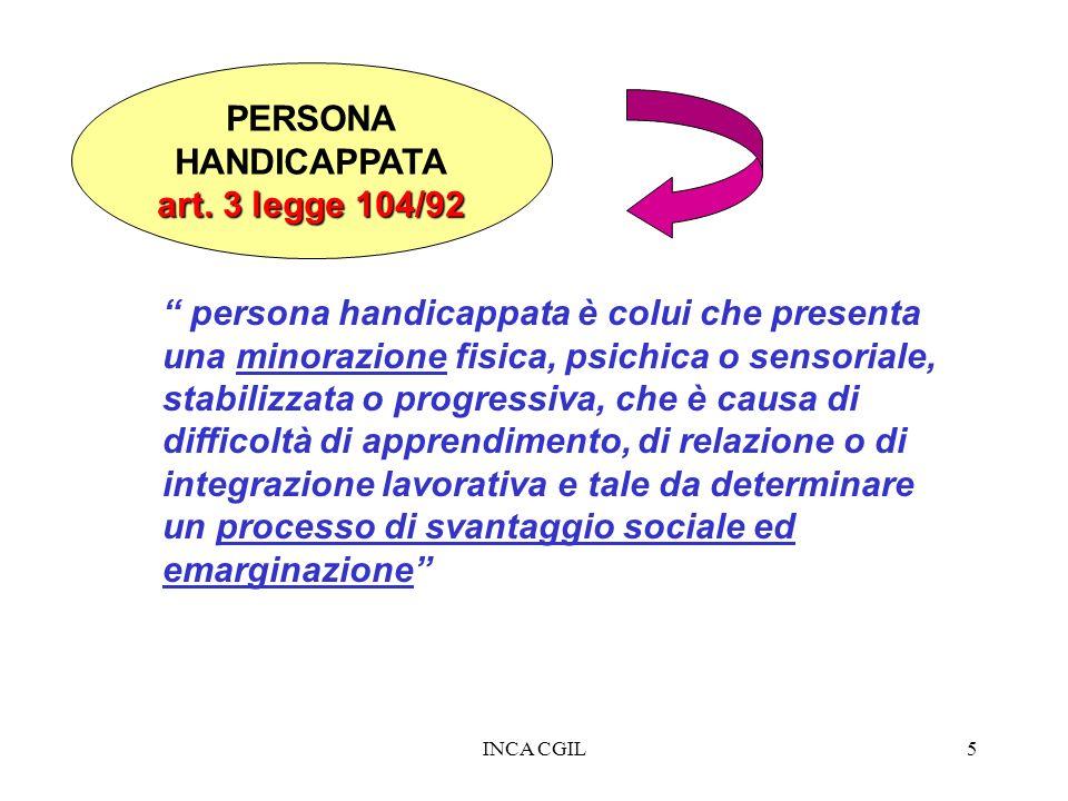 PERSONA HANDICAPPATA art. 3 legge 104/92