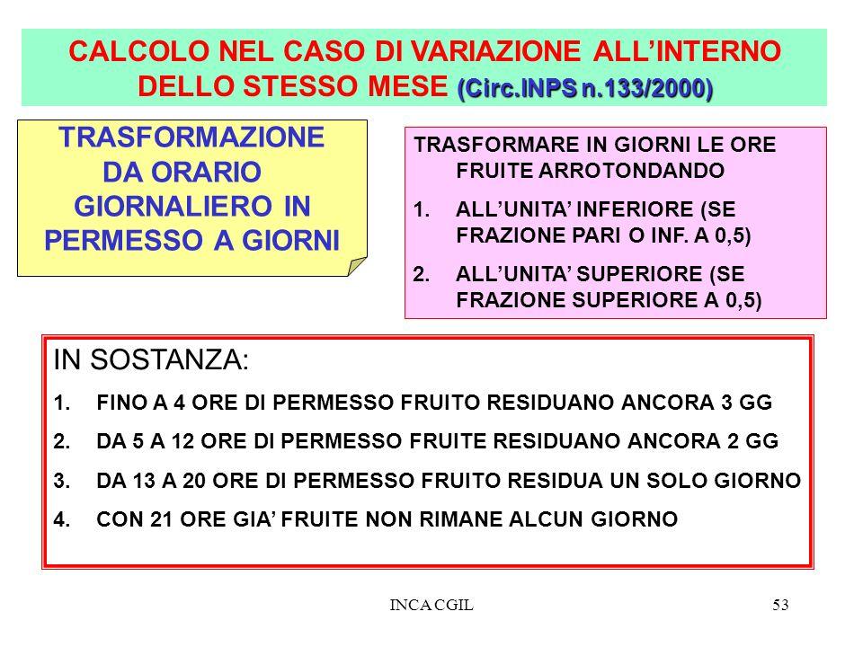 CALCOLO NEL CASO DI VARIAZIONE ALL'INTERNO DELLO STESSO MESE (Circ