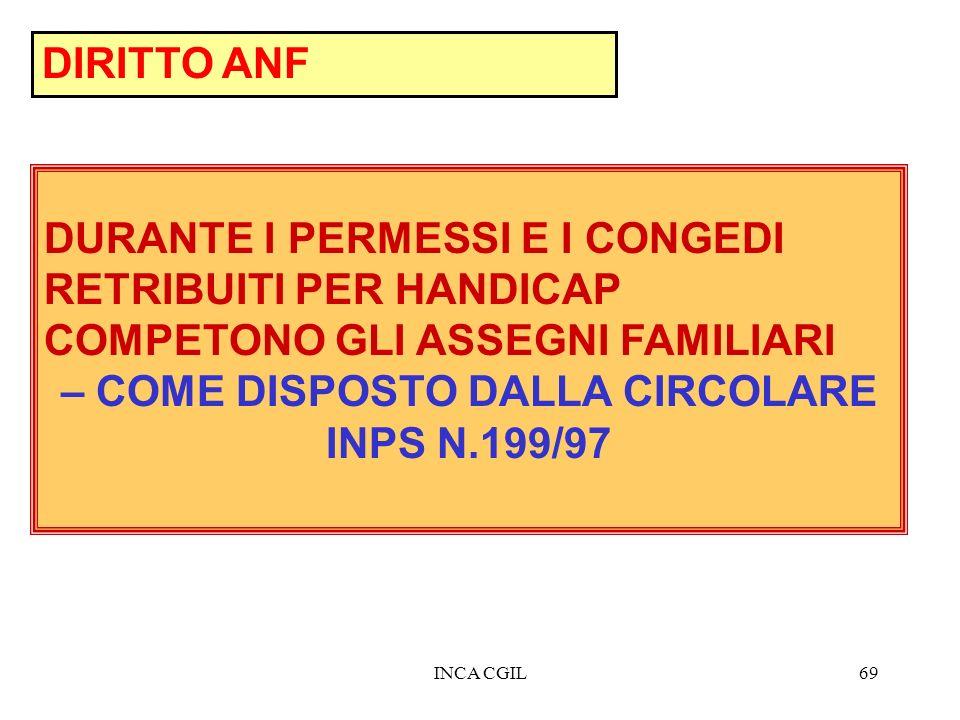 – COME DISPOSTO DALLA CIRCOLARE INPS N.199/97
