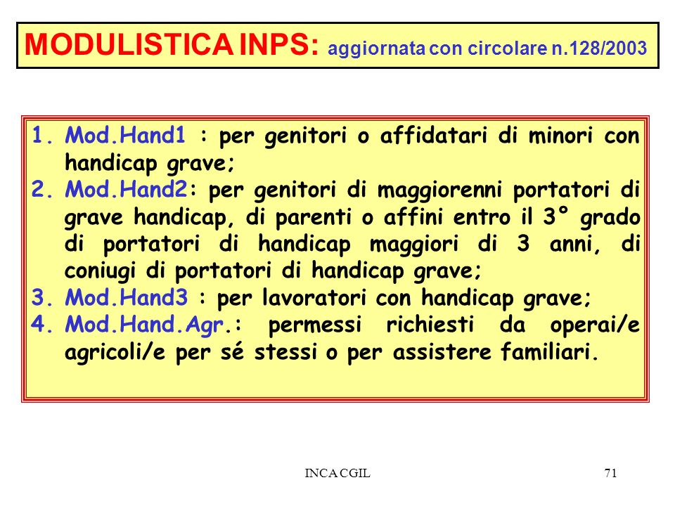 MODULISTICA INPS: aggiornata con circolare n.128/2003