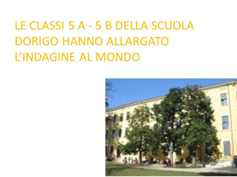 LE CLASSI 5 A - 5 B DELLA SCUOLA DORIGO HANNO ALLARGATO L'INDAGINE AL MONDO