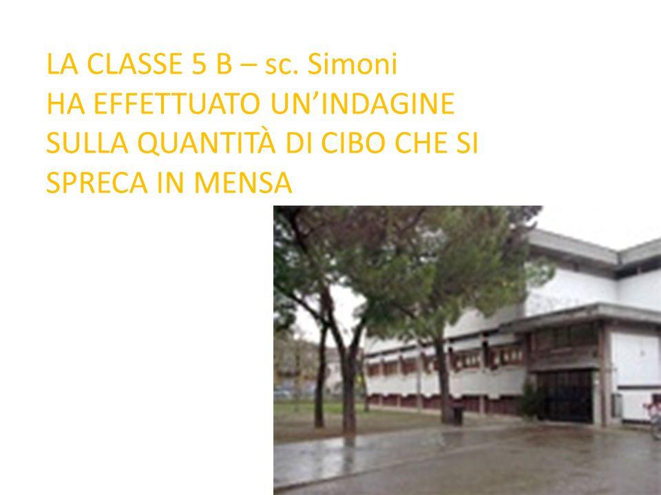 LA CLASSE 5 B – sc. Simoni HA EFFETTUATO UN'INDAGINE SULLA QUANTITÀ DI CIBO CHE SI SPRECA IN MENSA