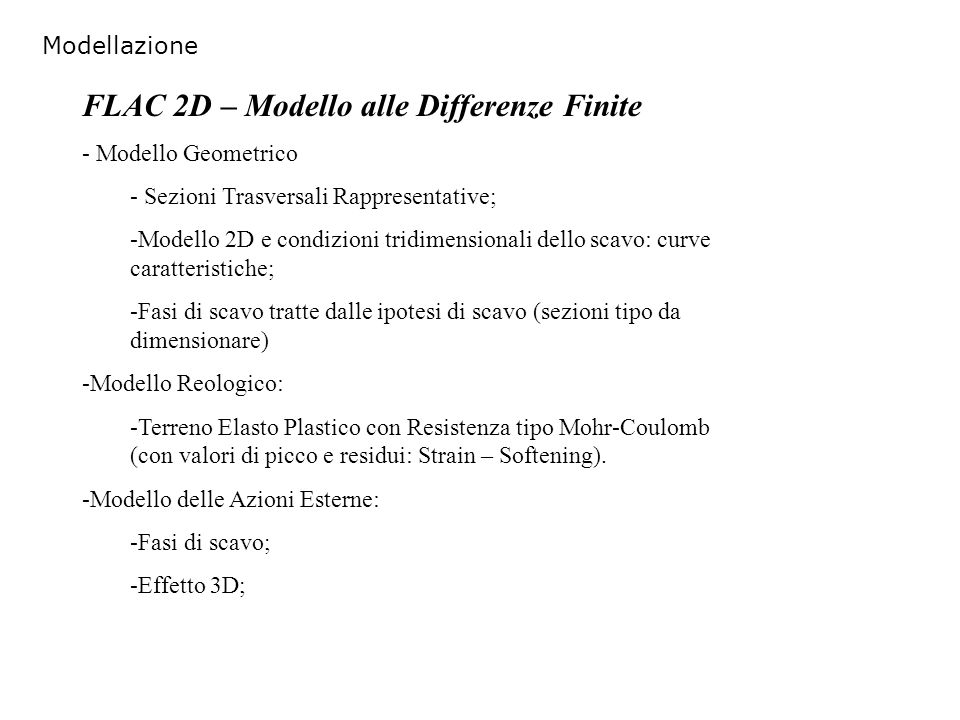 FLAC 2D – Modello alle Differenze Finite