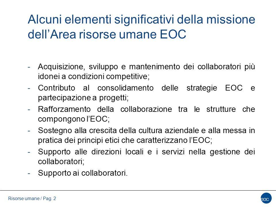 Alcuni elementi significativi della missione dell'Area risorse umane EOC