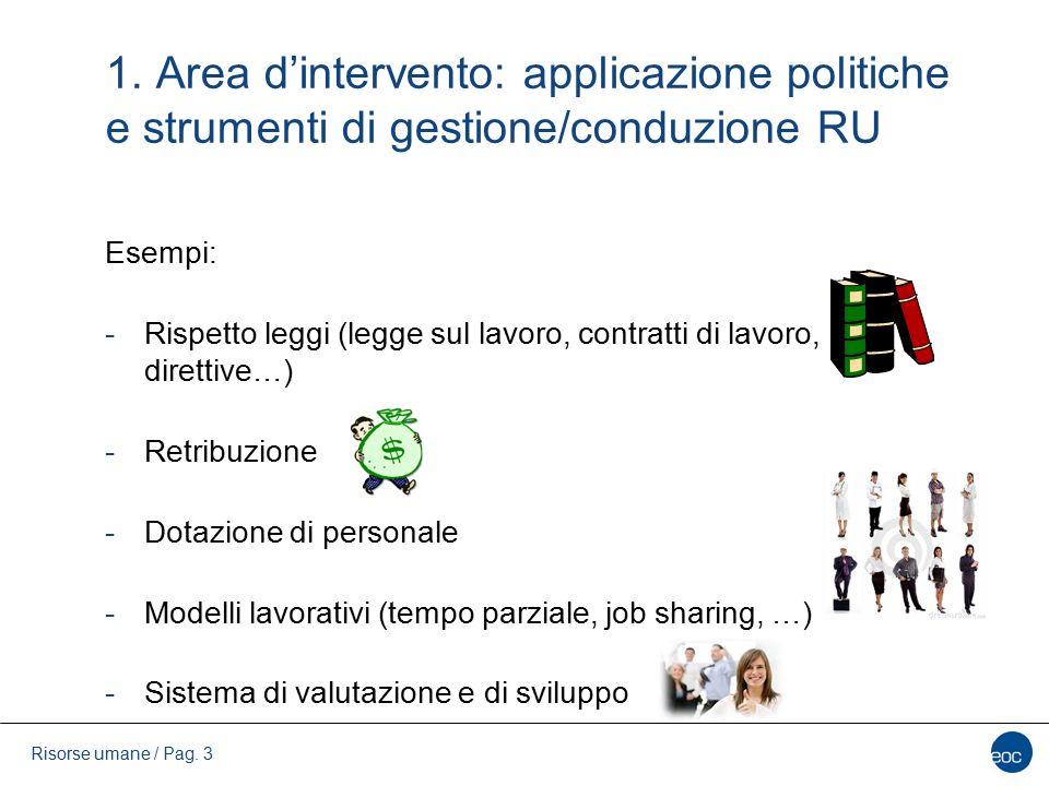1. Area d'intervento: applicazione politiche e strumenti di gestione/conduzione RU