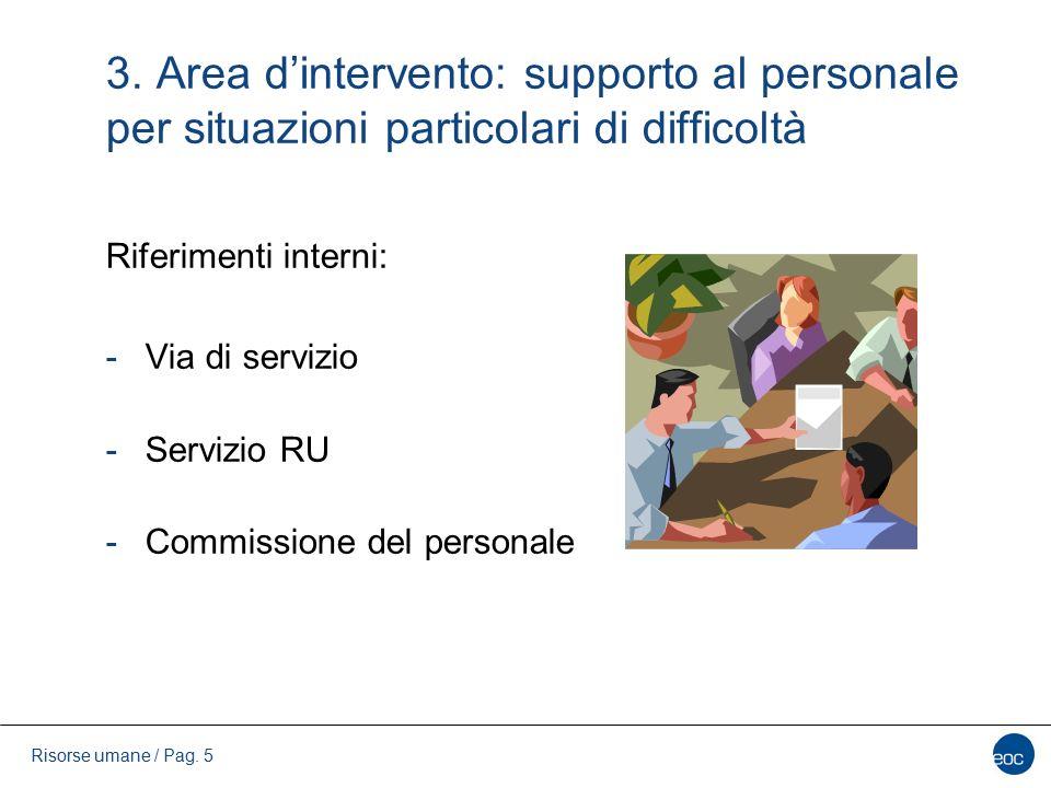 3. Area d'intervento: supporto al personale per situazioni particolari di difficoltà