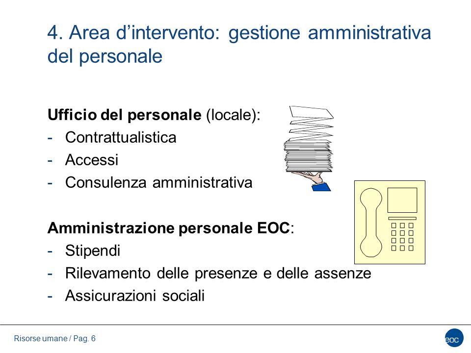 4. Area d'intervento: gestione amministrativa del personale