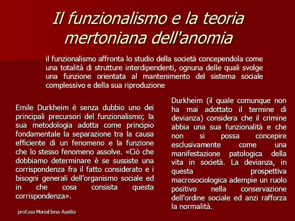 Il funzionalismo e la teoria mertoniana dell anomia