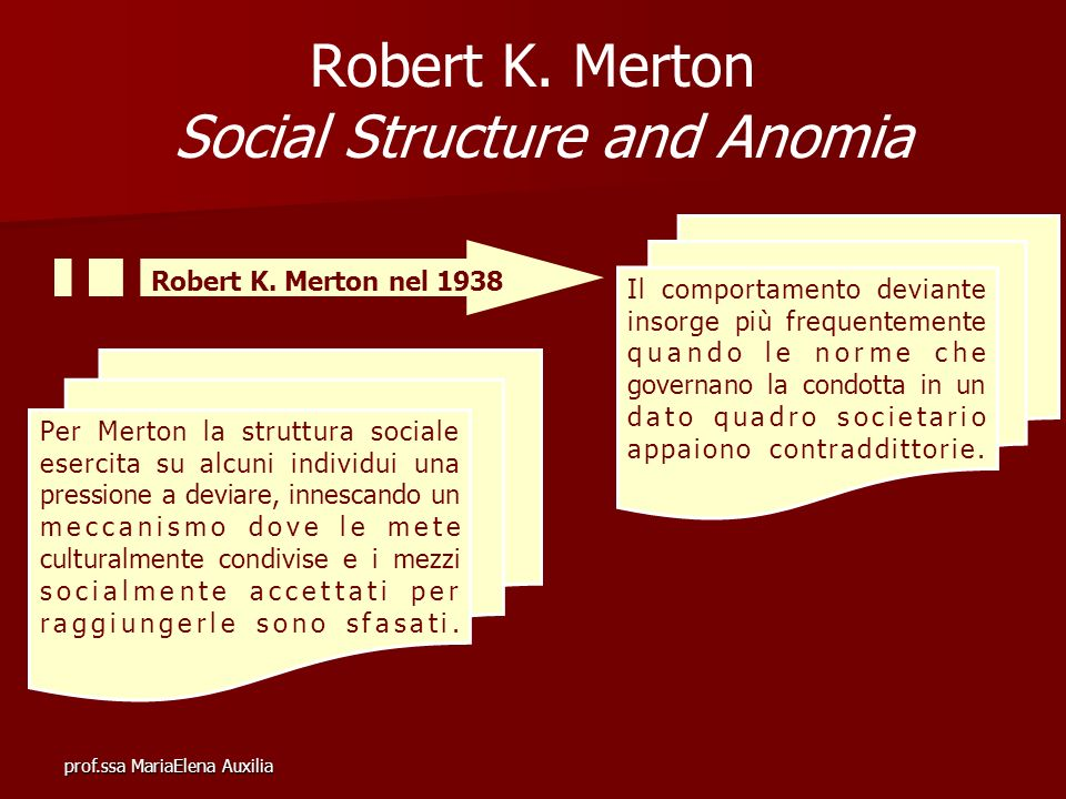 Robert K. Merton Social Structure and Anomia