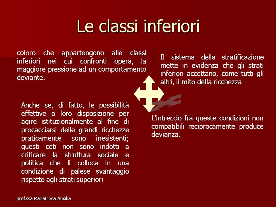 Le classi inferiori coloro che appartengono alle classi inferiori nei cui confronti opera, la maggiore pressione ad un comportamento deviante.